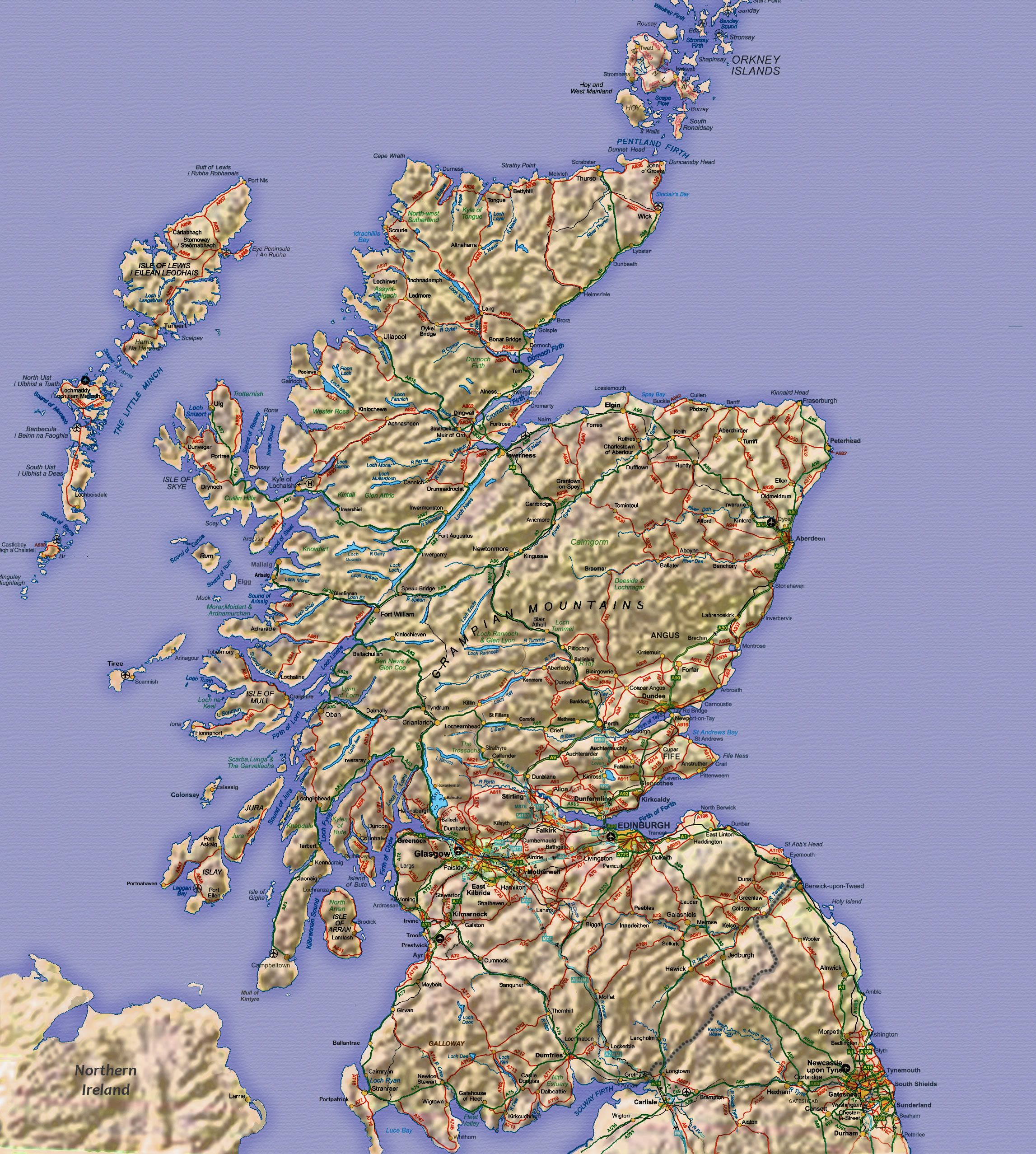 This large scale map of Scotland showing towns and main roads may be