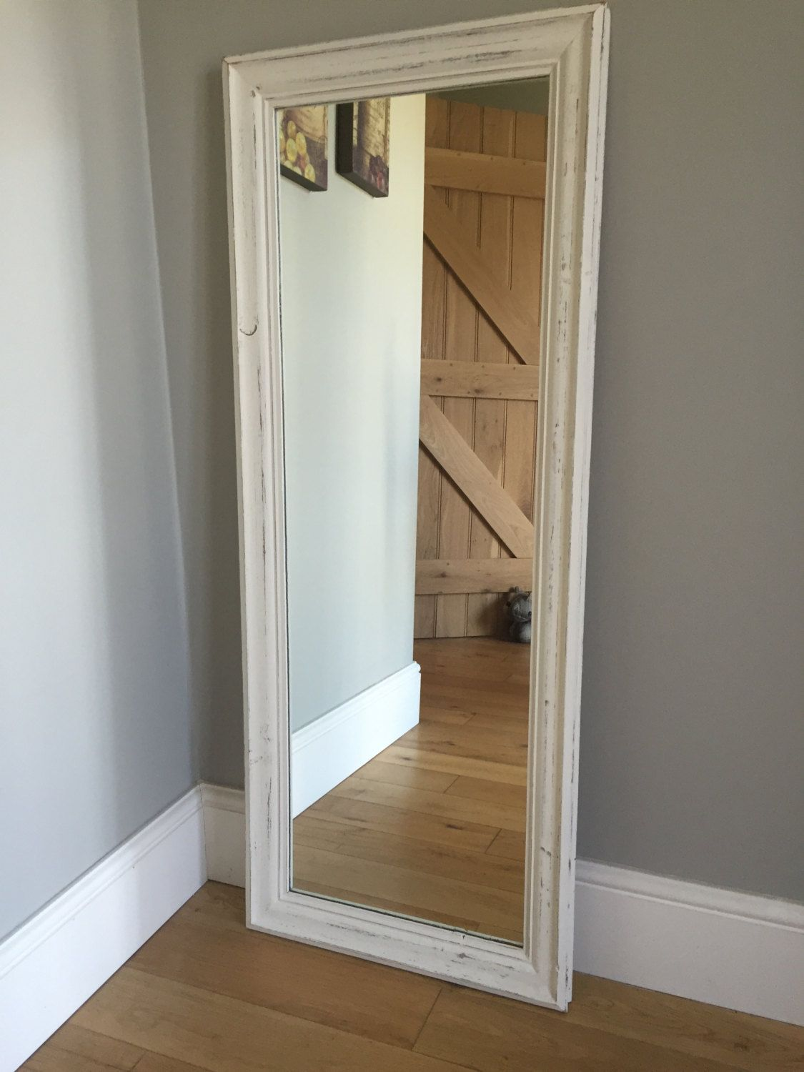 Full length wood framed mirror painted cream - distressed finish by ...