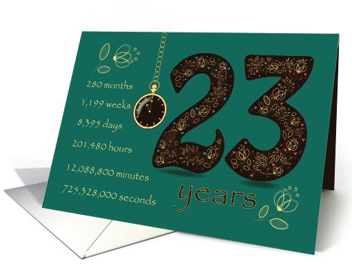 22nd Wedding Anniversary Gift Ideas: 23 Years Recovery Anniversary. Floral Number 23. Time