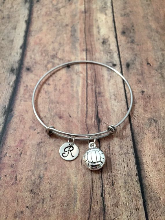 Volleyball Charm Bracelet Volleyball Jewelry Gift For Volleyball Player Sports Jewelry Silver Volleyball Volleyball Jewelry Initial Bangle Charm Bracelet
