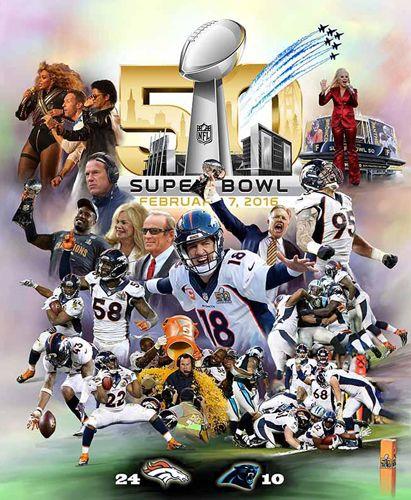 """Denver News I 70 Avalanche: Super Bowl 50 """"Denver Domination"""" Broncos Premium Art"""