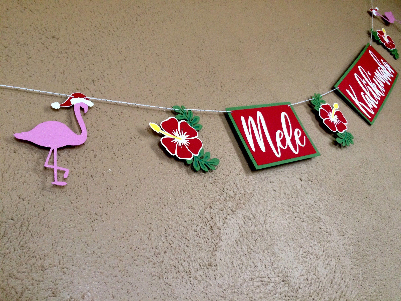 Mele Kalikimaka Hawaiian Christmas Banner Tropical Christmas