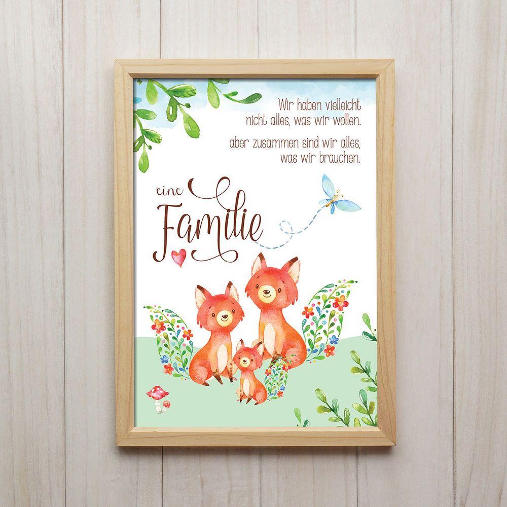 Fuchs Familie Kunstdruck DIN A4 Spruch Tiere Bild Druck