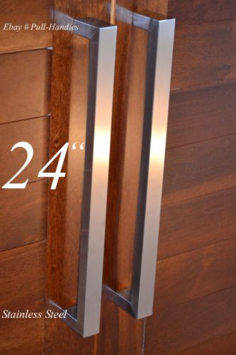 Entry Front Door Pull Square Handle Stainless Steel 24\