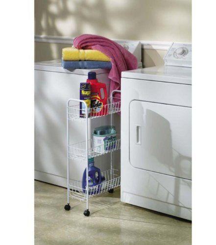 Household Essentials Slim Line 3Tier Metal Storage Cart White