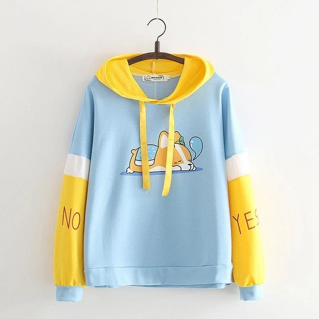 Kawaii Cartoon Animal Dog Long sleeve Corgi Hoodie