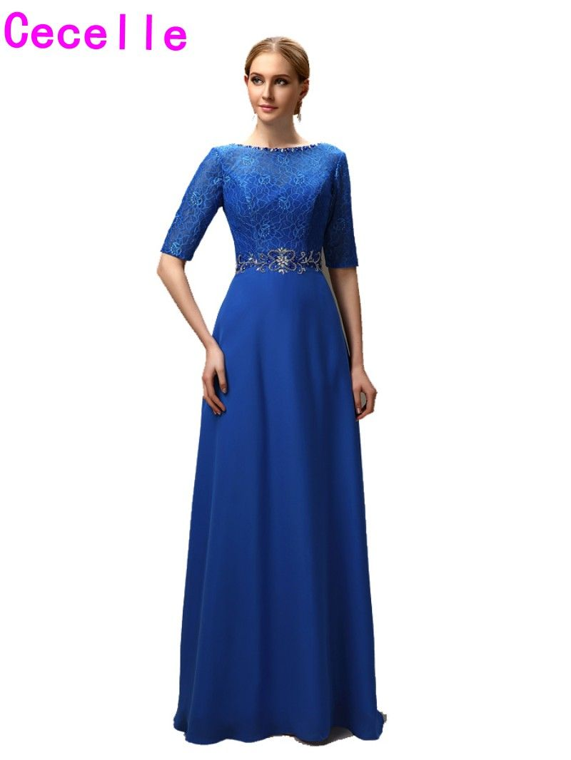 Sexy open back royal blue lace chiffon mother of the bride dresses