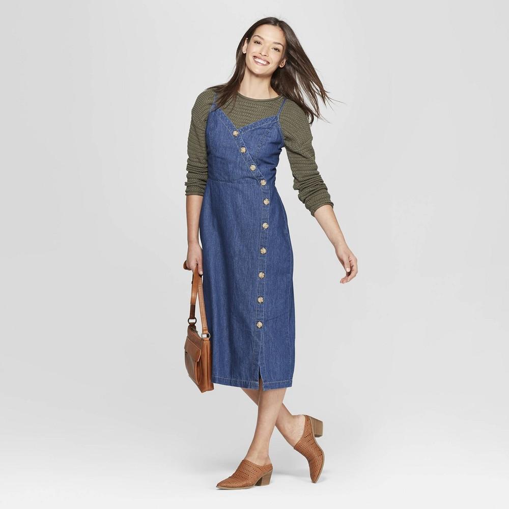 5003d5aa81f Women s Asymmetrical Button Front Denim Dress - Universal Thread Blue Xxl