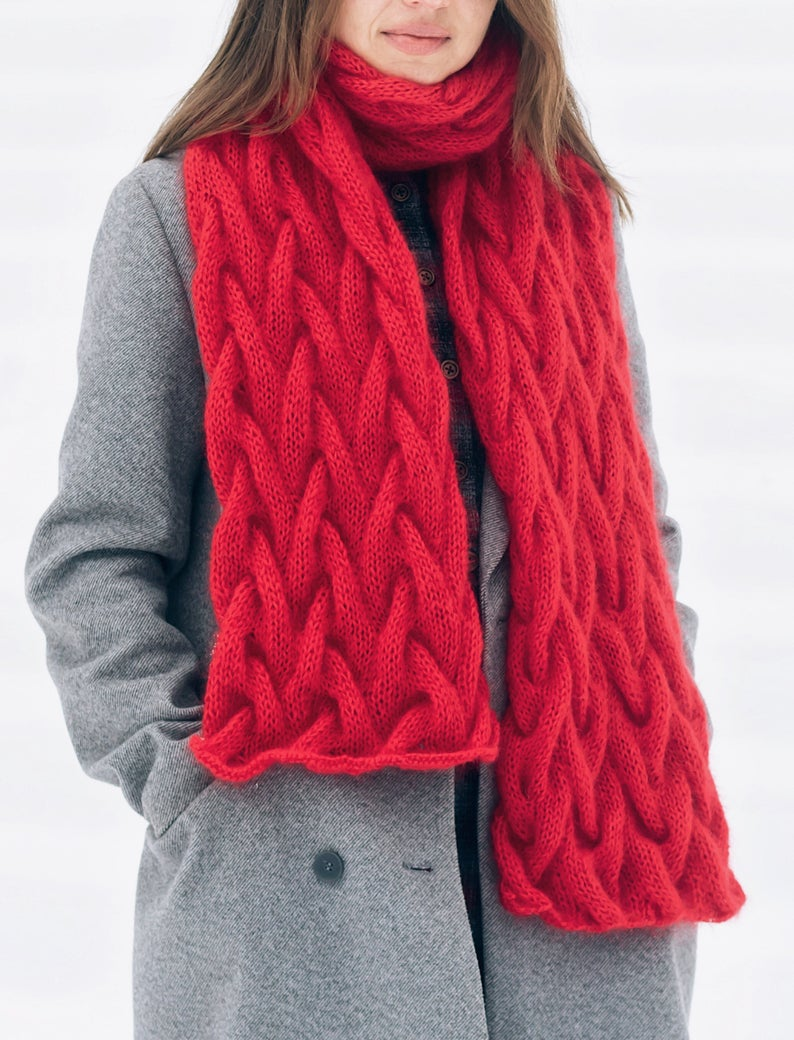Photo of Red mohair scarf Women oversized scarf Chunky knitted scarf Natural wool scarf Fluffy elegant scarf Blanket red scarf Valentine red gift