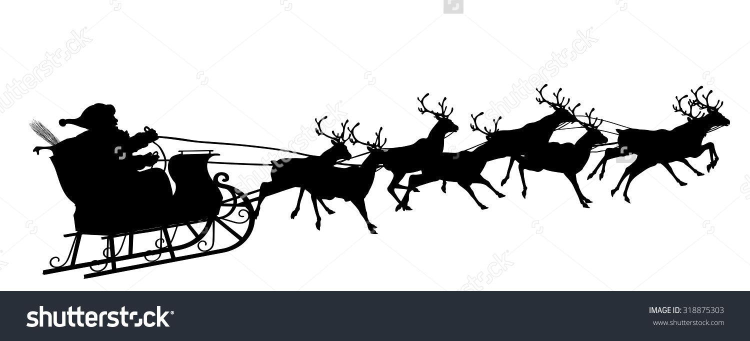 Santa And Reindeer Silhouette Clipart Clipground Santa Sleigh Silhouette Reindeer Silhouette Reindeer And Sleigh