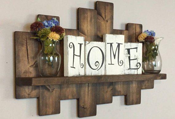 Rustic offset shelf 40W; offset shelves, wooden shelves, shabby chic decor, rustic home decor, country decor, farmhouse
