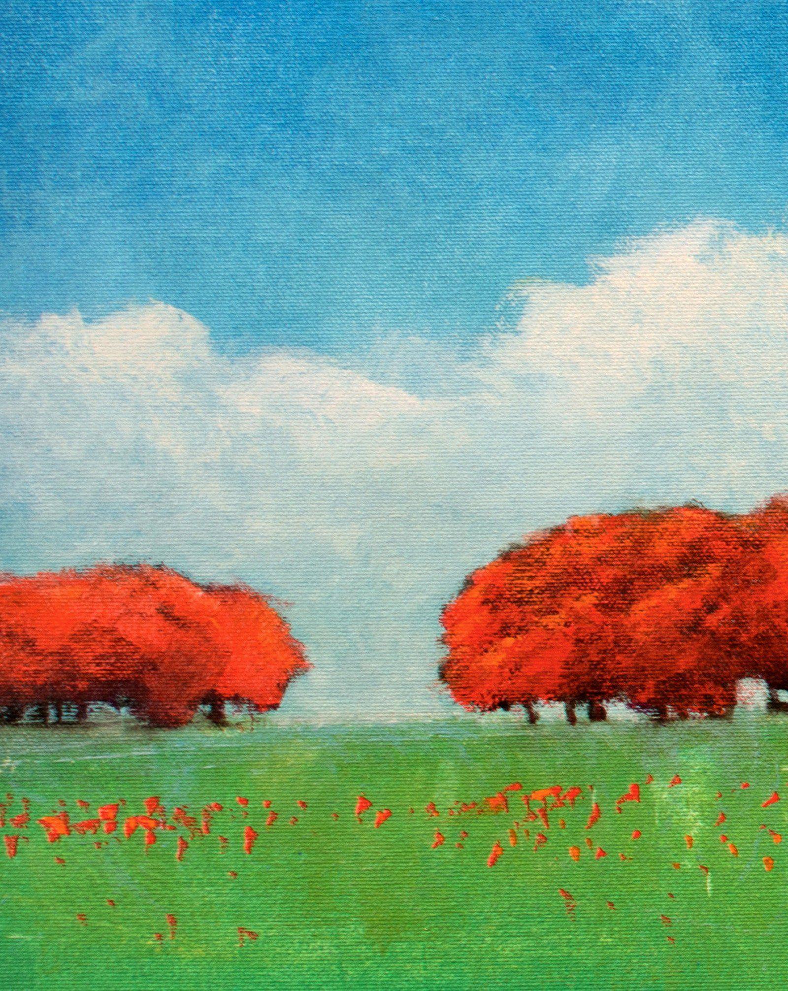 Red Tree Painting Original Landscape Painting Contemporary Monet Style Original Blue Sky Sunset Landscape Painting Original Landscape Painting Tree Painting