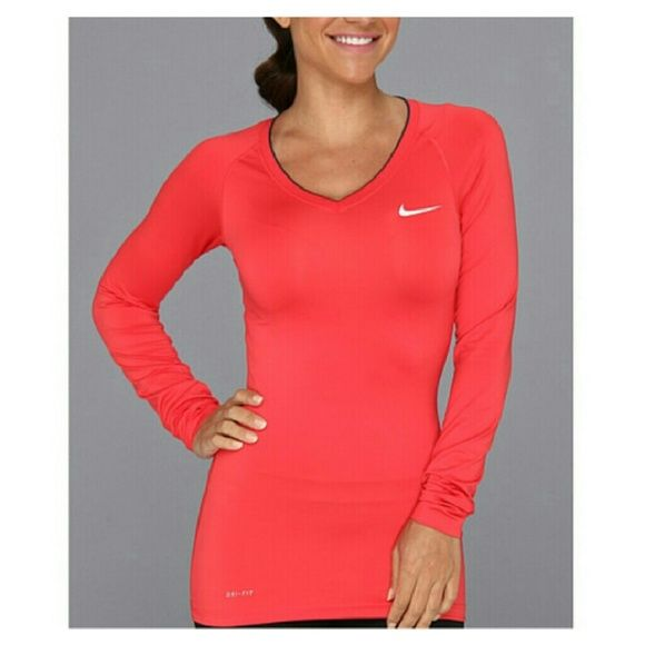 . NIKE PRO DRI-FIT RED V NECK LONG SLEEVE TOP  NWOT NIKE PRO DRI-FIT V NECK TOP * NEVER WORN * WHITE TRIM * FITTED * 84% POLYESTER * 16% SPANDEX Nike Tops Tees - Long Sleeve #niketops