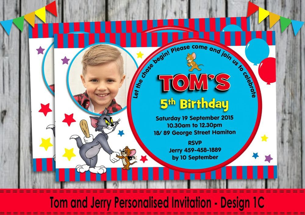 Tom and jerry personalised invitations invites cards birthday party tom and jerry personalised invitations invites cards birthday party boys girls stopboris Image collections