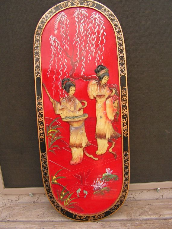 Antique Asian Wall Plaque Hangings Vintage Carved Soapstone Mother