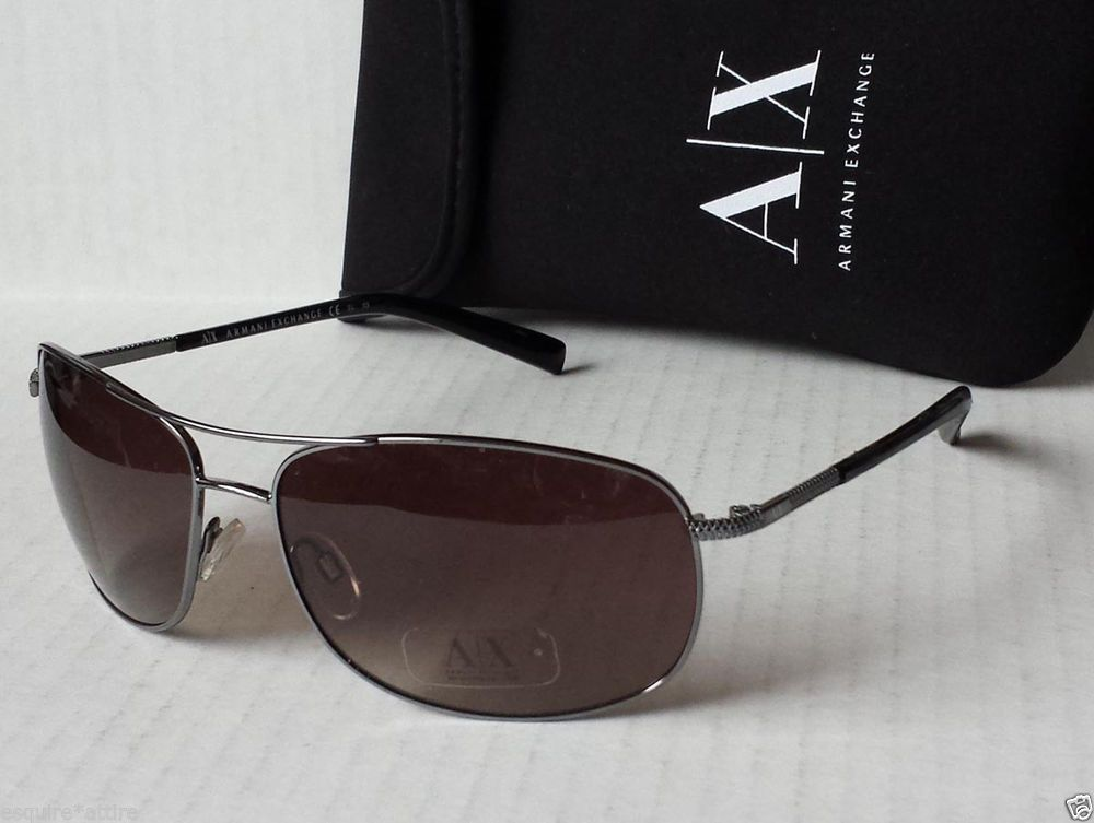 91a33abe4869 Armani Exchange men aviator style rectangular sunglasses AX229 black with  bag  AXArmaniExchange  Aviator
