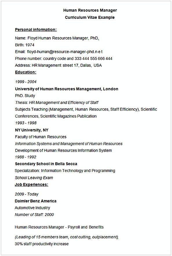 Human Resources Manager CV Example , HR Manager Resume Sample , This ...