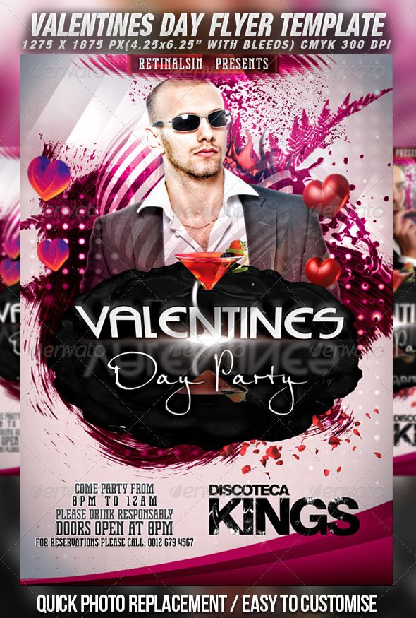 Valentines Day Party Flyer Template V  Party Flyer Flyer