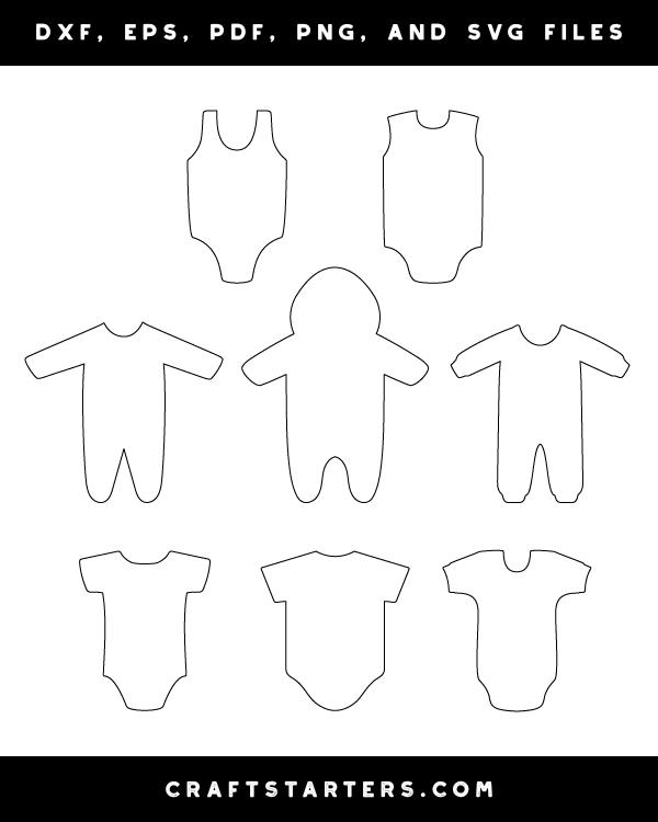 Download Onesie Outline Patterns: DFX, EPS, PDF, PNG, and SVG Files ...