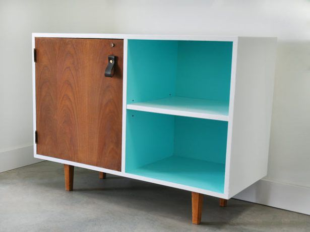 Mid-Century Modern Cabinet with Handmade Leather Door Pull