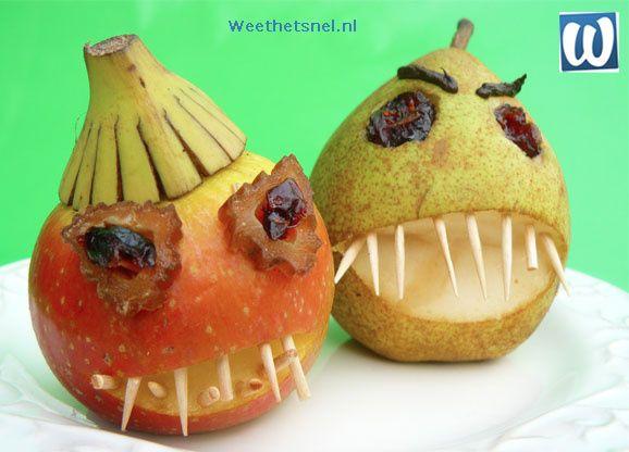 Halloween traktatie: griezelige appels en peren. Leuk, gezond en lekker!