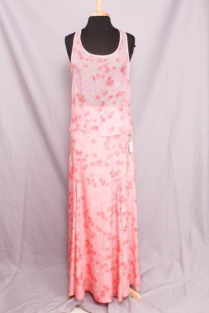 Beckley by Melissa Size 8/L Pink Floral Print Maxi Skirt Set NWT 2094 L215 #BeckelybyMelissa #SkirtSet