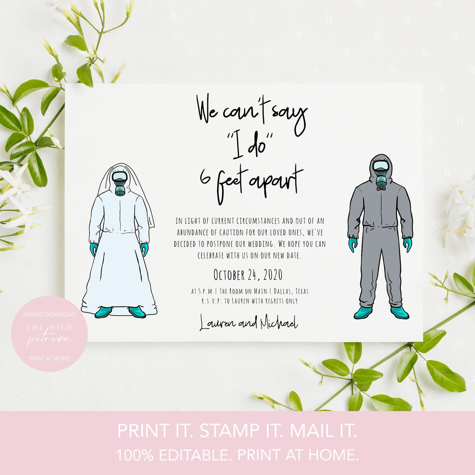 Printable Change The Date Card Template Postponed Wedding Postcard Funny Social Distancing Wedding Funny Wedding Cards Wedding Postcard Wedding Announcements