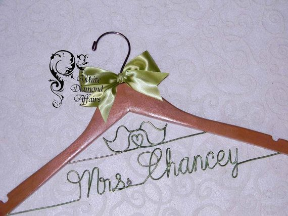 Love Birds Themed Wedding Hanger Wedding by WhiteDiamondAffairs, $29.95