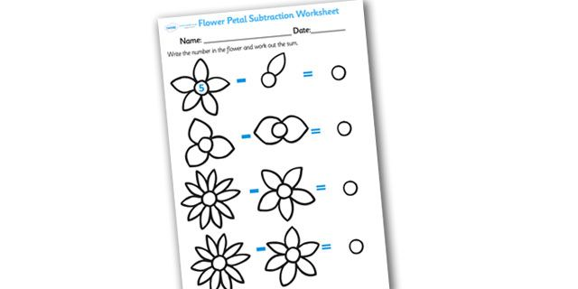 Twinkl Resources >> Numbers on Flowers Subtraction