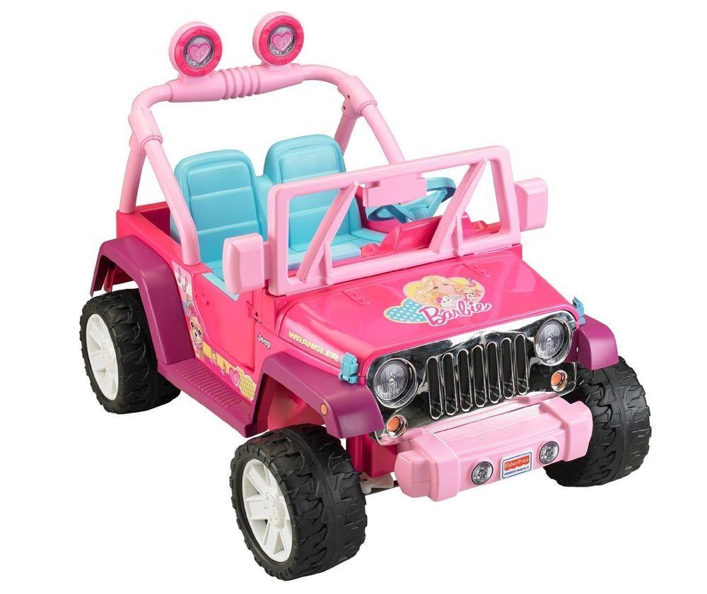 Pink Barbie Fisher Price Power Wheel Jammin Wrangler Jeep Car