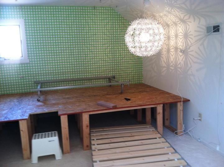 trundle bed under platform deck the platform and a trundle will go under the platform the. Black Bedroom Furniture Sets. Home Design Ideas