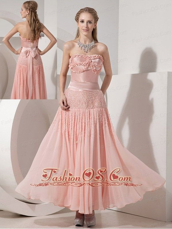 Customize Light Pink Evening Dress Column Strapless Chiffon and ...