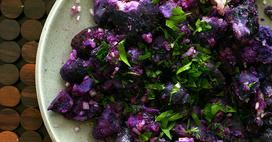 Fork-crushed purple potatoes... How great do these look?