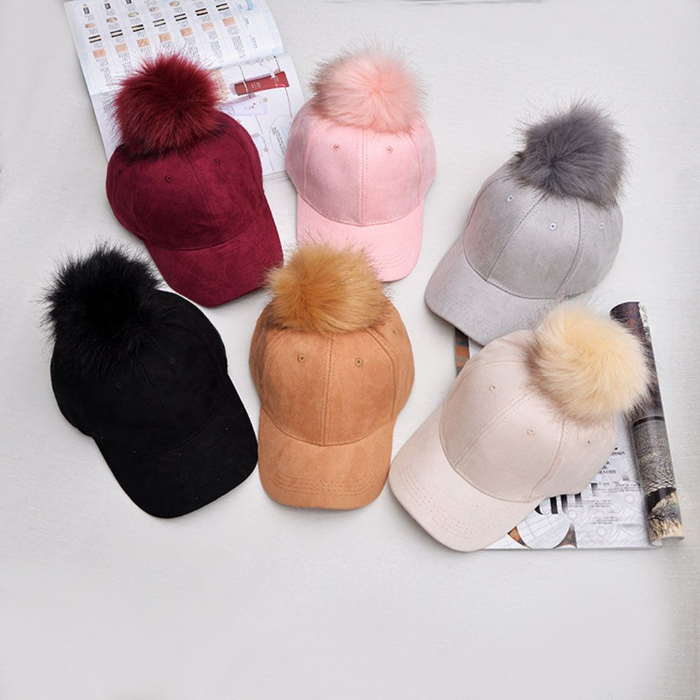 Womens Adjustable Sweet Hip Hop PU Fluffy Fur Ball Snapback Baseball Hat Cap