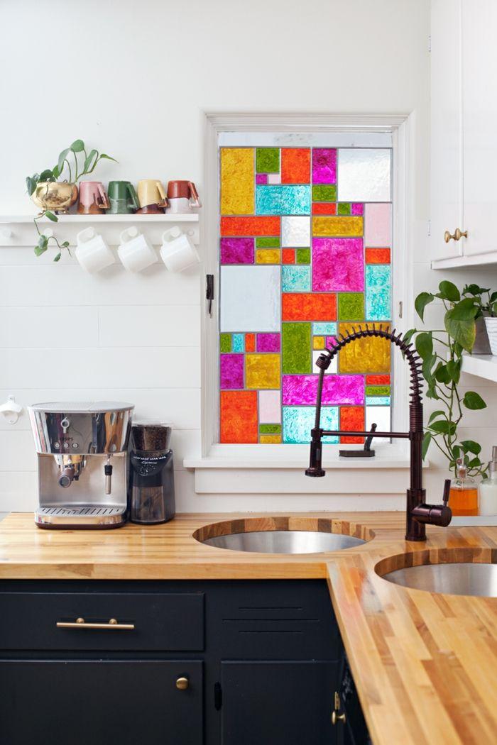 fenster sichtschutz buntes glas fensterdeko küchenfenster - sichtschutz f r badezimmerfenster