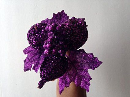 Perfect Holiday 7 Glitter Poinsettia Flower Artificial Christmas Spray Pick Purple Poinsettia Flower Poinsettia Artificial Flowers