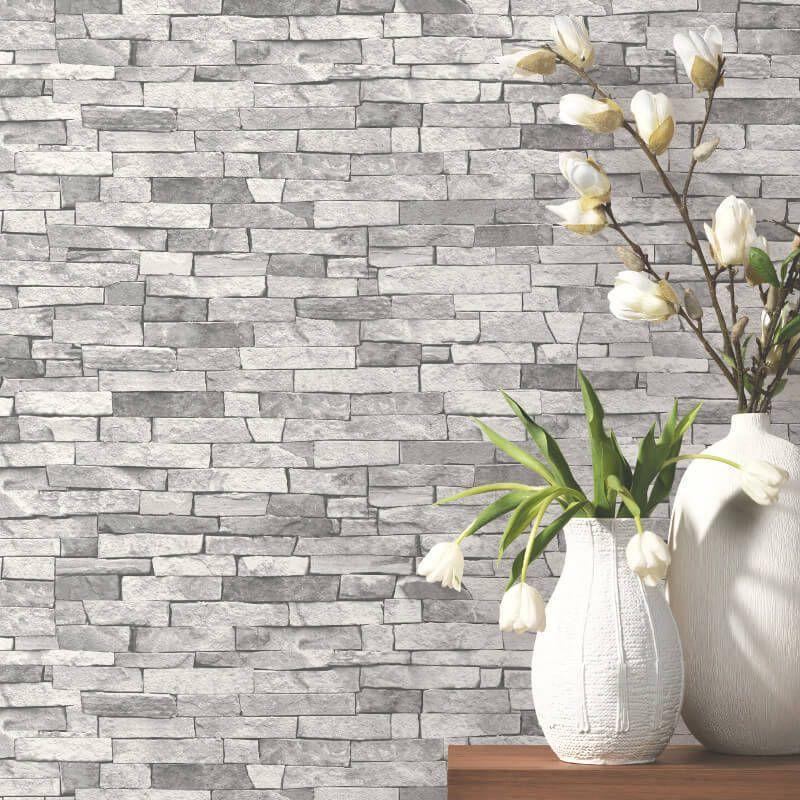Light Grey Brick Effect Wallpaper Realistic Stone Slate 3d Weathered Feature 4000278554621 Slate Wallpaper Brick Effect Wallpaper Grey Brick Effect Wallpaper