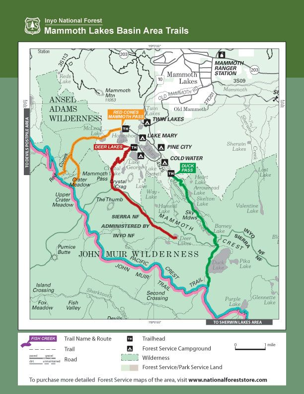 Mammoth Lake Basin Area Trails | Red\'s Meadow Area Trails ...