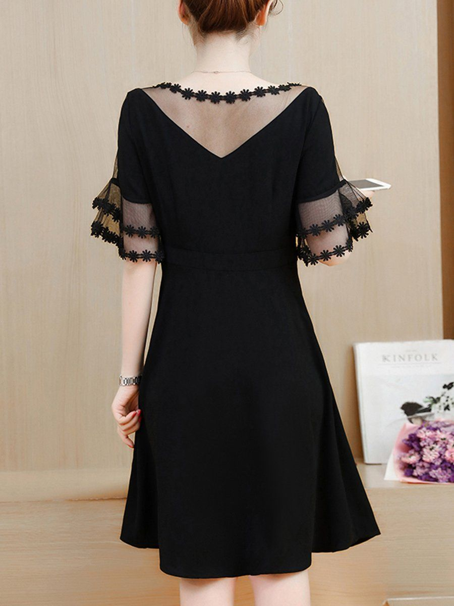 See Through Solid Bell Sleeve Skater Dress In Black Lace Dress Fashion Dresses [ 1200 x 900 Pixel ]