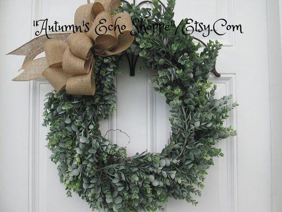 Photo of FAUX EUCALYPTUS WREATH ~ Eucalyptus Door Wreath ~ Farmhouse Style Decor ~ Front Door Wreath ~ French Country Decor Wreath ~ Spring Door Wreath