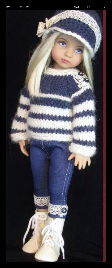 Handknit sweater and denim set made for Effner little darling dolls
