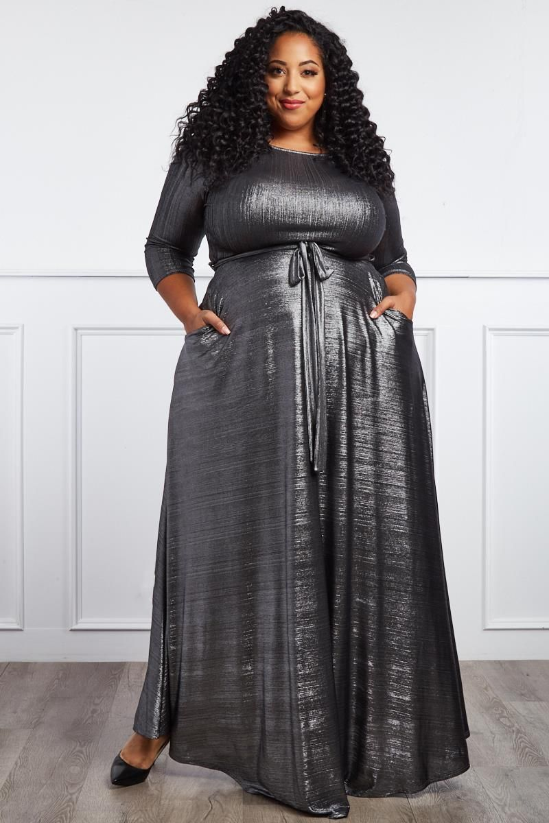 7a2736b46 So It Goes Plus Size Metallic Maxi Dress | Pageant Daywear/Business ...