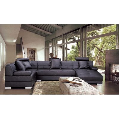 Houston Leather Sectional Upholstery Brown Orientation Left