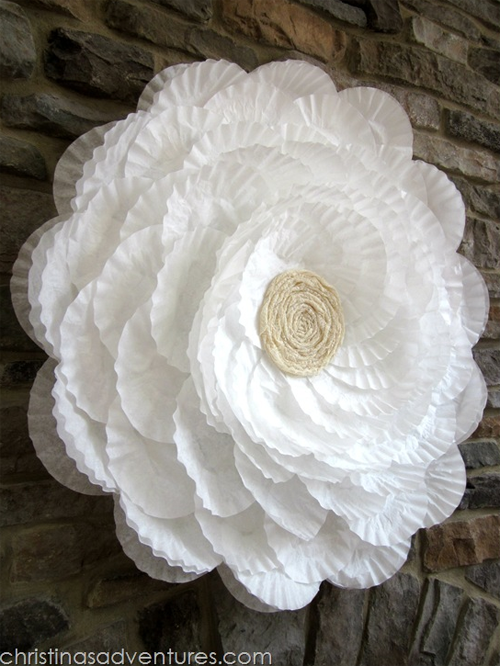 After she covered the hula hoop with coffee filters a after she covered the hula hoop with coffee filters a transformation happened that you would paper flowers mightylinksfo
