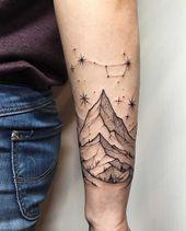 Photo of Bergen und Big Dipper Sternbild Tattoo auf dem Unterarm von Sasha Kiseleva, #Bergen #Big #C …