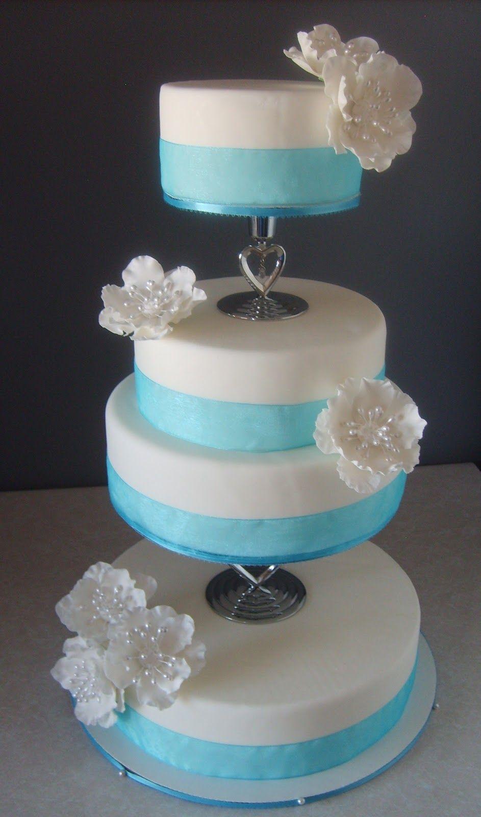 Elegant Navy Blue, White And Pink Wedding Cake ... |Pink And Blue Wedding Cakes