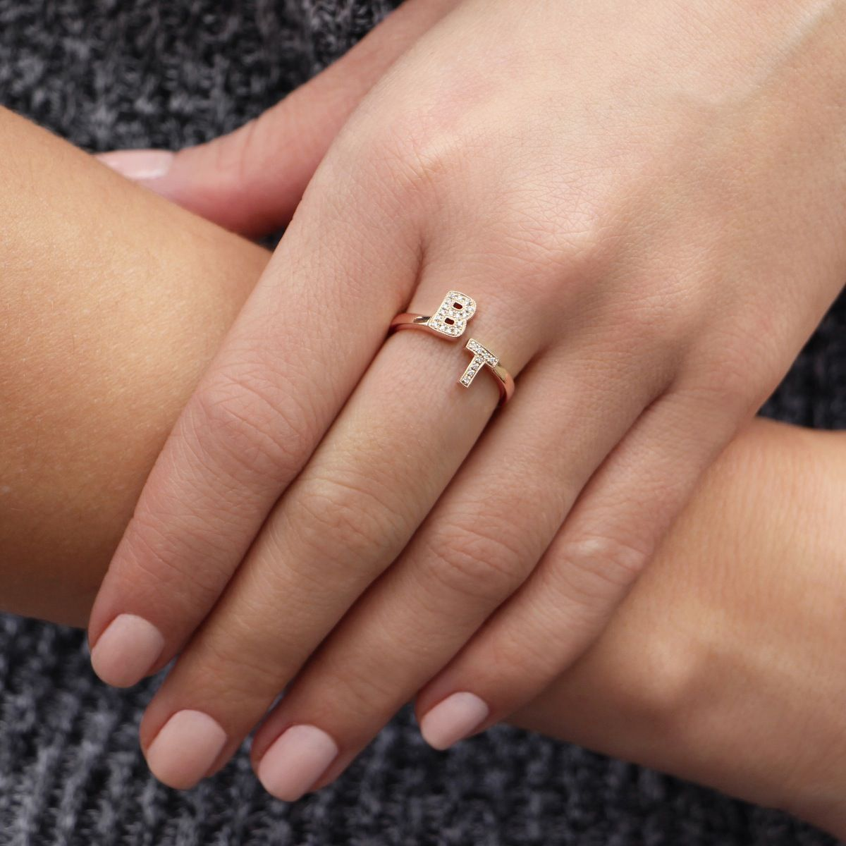 0d48aa1b8d4d90 DRD Double Initial Ring | Jewelry | White gold rings, Yellow gold ...