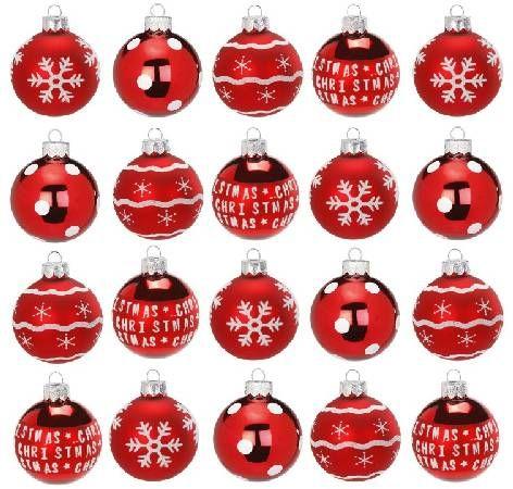 Weihnachtskugeln Glas rot weiss Mix 6cm matt und glänzend im Display
