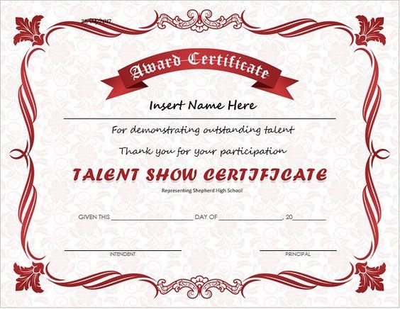 Pin By Tiffany Willis On Talent Show    Certificate And