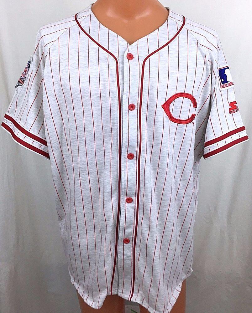cincinnatireds Fan Starter starter Gray Shop Reds Pinstripes Button Cinci… Baseball Xl Jersey Reds Size Red Cincinnati Jerseys Front